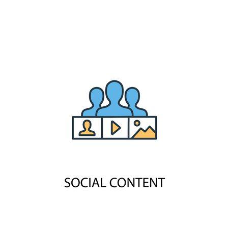 social content concept 2 colored line icon. Simple yellow and blue element illustration. social content concept outline symbol Banco de Imagens - 130216751