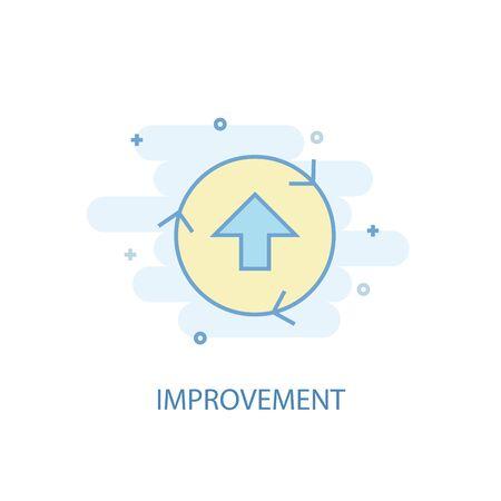 concetto di linea di miglioramento. Icona della linea semplice, illustrazione colorata. simbolo di miglioramento design piatto. Può essere utilizzato per l'interfaccia utente