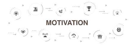 motivation Infographic 10 steps circle design. goal, performance, achievement, success icons Ilustração