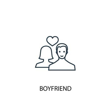 boyfriend concept line icon. Simple element illustration. boyfriend concept outline symbol design. Can be used for web and mobile UI