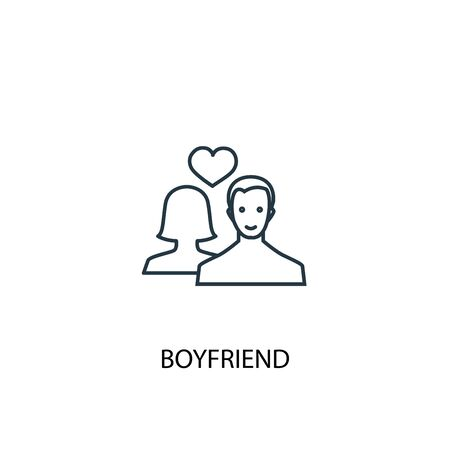 boyfriend concept line icon. Simple element illustration. boyfriend concept outline symbol design. Can be used for web and mobile UI