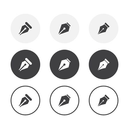 Set of 3 simple design pen icons. Rounded background pen symbol