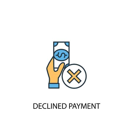 declined payment concept 2 colored line icon. Simple yellow and blue element illustration. declined payment concept outline symbol