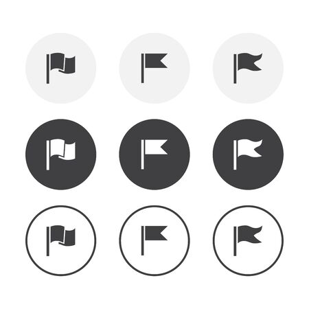 Set of 3 simple design Flag icons. Rounded background Flag symbol collection Ilustracja