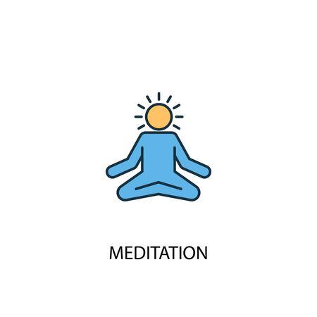 meditation concept 2 colored line icon. Simple yellow and blue element illustration. meditation concept outline symbol Ilustração