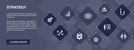 Strategy banner 10 icons concept.goal, growth, process, teamwork icons