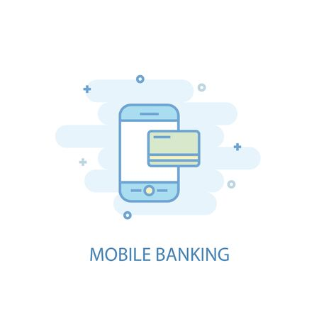 Mobile banking line concept. Simple line icon, colored illustration. Mobile banking symbol flat design. Can be used for UI