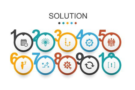 Solution Infographic design template strategy, plan, execution, timetable simple icons