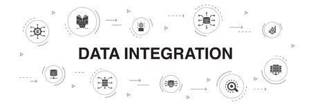 Data integration Infographic 10 steps circle design.database, data scientist, Analytics, Machine Learning icons