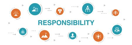 responsibility Infographic 10 steps circle design. delegation, honesty, reliability, trust icons Vector Illustration