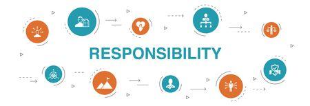 Verantwortung Infografik 10 Schritte Kreisdesign. Delegation, Ehrlichkeit, Zuverlässigkeit, Vertrauenssymbole Vektorgrafik