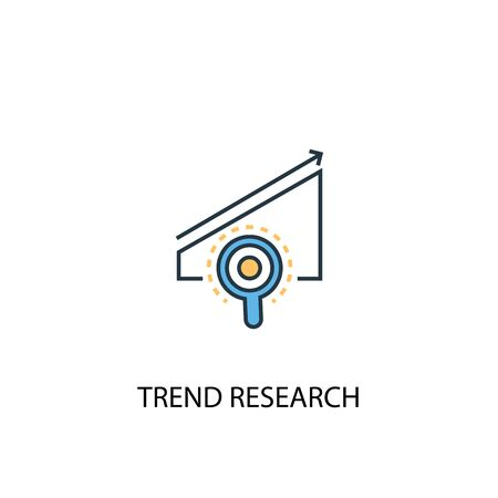 trend research concept 2 colored line icon. Simple yellow and blue element illustration. trend research concept outline symbol Illustration