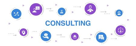 Consulting Infographic 10 steps circle design.Expert, knowledge, experience, consultant icons