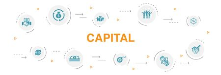 capital Infographic 10 steps circle design. dividends, money, investment, success icons