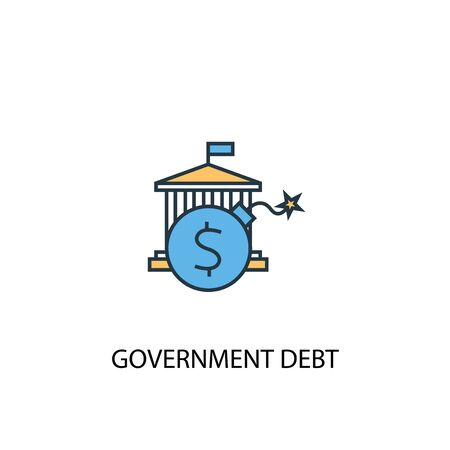 Government debt concept 2 colored line icon. Simple yellow and blue element illustration. Government debt concept outline symbol Standard-Bild - 130215969