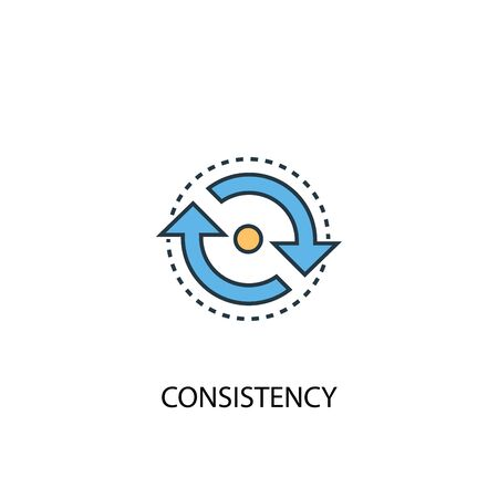 consistency concept 2 colored line icon. Simple yellow and blue element illustration. consistency concept outline symbol