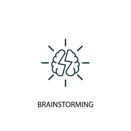 brainstorming concept line icon. Simple element illustration. brainstorming concept outline symbol design. Can be used for web and mobile UI Illustration