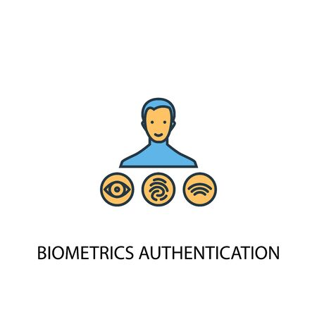 Biometrics authentication concept 2 colored line icon. Simple yellow and blue element illustration. Biometrics authentication concept outline symbol
