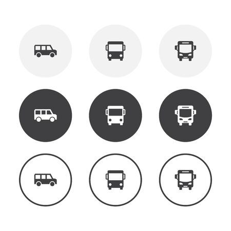 Set of 3 simple design bus icons. Rounded background bus symbol