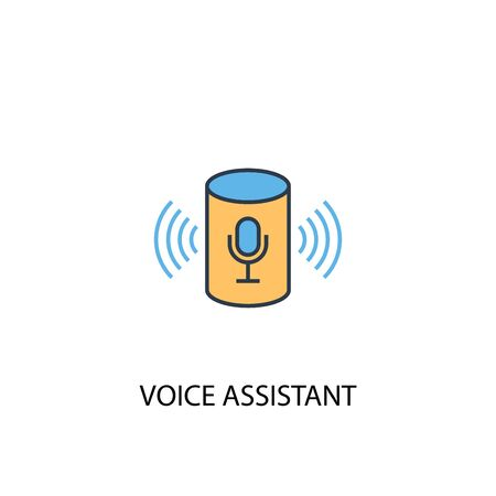voice assistant concept 2 colored line icon. Simple yellow and blue element illustration. voice assistant concept outline symbol