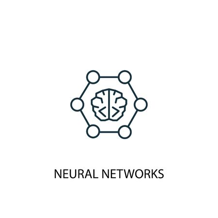 neural networks concept line icon. Simple element illustration. neural networks concept outline symbol design. Can be used for web and mobile  イラスト・ベクター素材