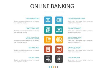 online banking Infographic 10 option concept.funds transfer, mobile banking, online transaction, digital money simple icons