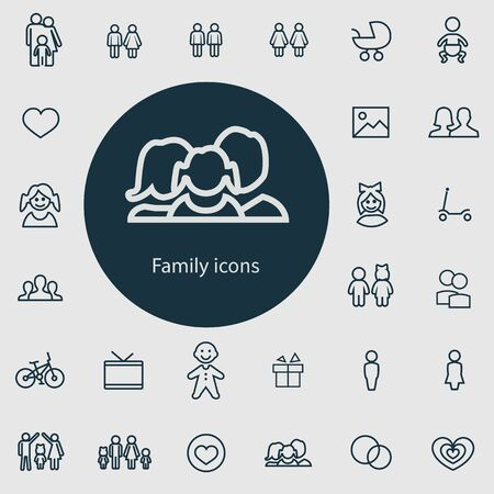 family outline, thin, flat, digital icon set for web and mobile. Çizim