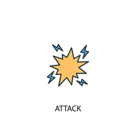 concetto di attacco 2 icona linea colorata. Illustrazione semplice dell'elemento giallo e blu. disegno del simbolo del contorno del concetto di attacco