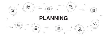 planning Infographic 10 steps circle design. calendar, schedule, timetable, Action Plan icons