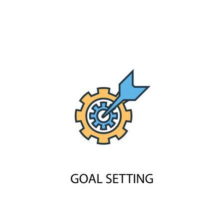 concept de définition d'objectifs 2 icône de ligne de couleur. Illustration simple d'élément jaune et bleu. objectif, définition, concept, contour, symbole