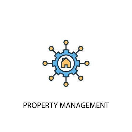 Property management concept 2 colored line icon. Simple yellow and blue element illustration. Property management concept outline symbol Standard-Bild - 130215680