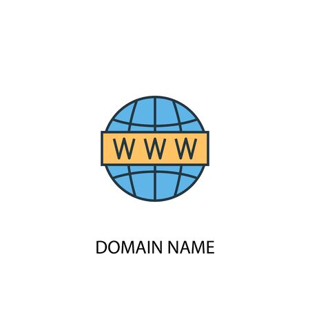 Domain Name concept 2 colored line icon. Simple yellow and blue element illustration. Domain Name concept outline symbol