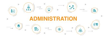 administration Infographic 10 steps circle design. management, schedule, presentation, corporation icons