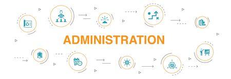 Verwaltung Infografik 10 Schritte Kreisdesign. Management, Zeitplan, Präsentation, Unternehmenssymbole
