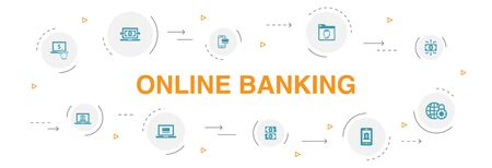 online banking Infographic 10 steps circle design. funds transfer, mobile banking, online transaction, digital money icons