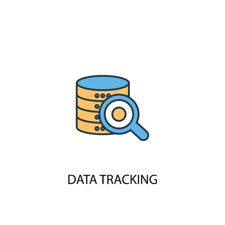 data tracking concept 2 colored line icon. Simple yellow and blue element illustration. data tracking concept outline symbol