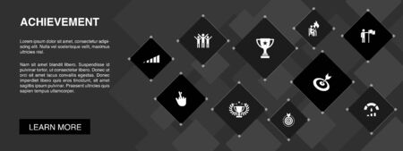 achievement banner 10 icons concept.progress, performance, goal, success icons