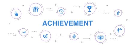 achievement Infographic 10 steps circle design. progress, performance, goal, success icons