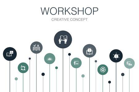 workshop Infographic 10 steps template.motivation, knowledge, intelligence, practice icons Çizim