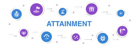 attainment Infographic 10 steps circle design. goal, leadership, objective, teamwork icons Illusztráció