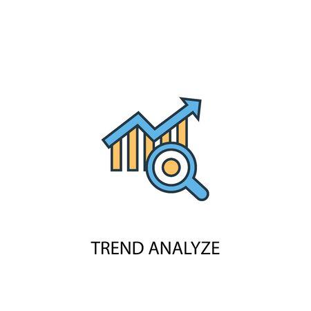 análisis de tendencias concepto 2 icono de línea de color. Ilustración simple elemento amarillo y azul. símbolo de esquema de concepto de análisis de tendencias Ilustración de vector