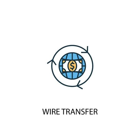 wire transfer concept 2 colored line icon. Simple yellow and blue element illustration. wire transfer concept outline symbol