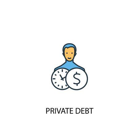 Icône de ligne de couleur de concept de dette privée 2. Illustration simple d'élément jaune et bleu. Symbole de contour du concept de dette privée Vecteurs