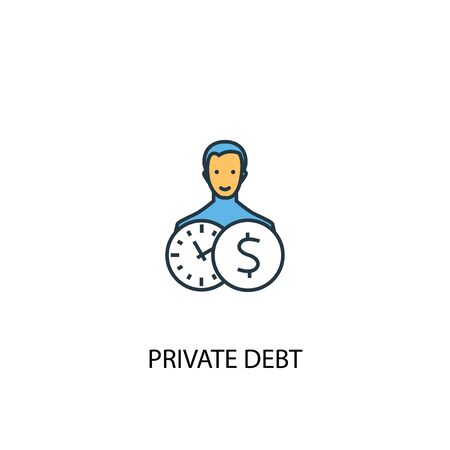Private debt concept 2 colored line icon. Simple yellow and blue element illustration. Private debt concept outline symbol