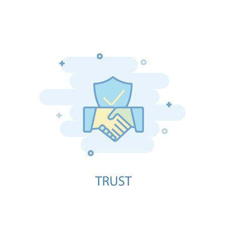 trust line concept. Simple line icon, colored illustration. trust symbol flat design. Can be used for UI