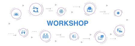 workshop Infographic 10 steps circle design. motivation, knowledge, intelligence, practice icons