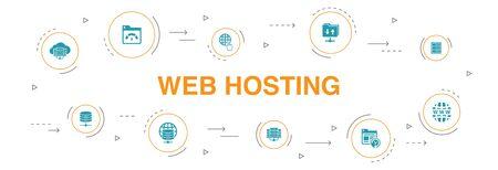 web hosting Infographic 10 steps circle design. Domain Name, Bandwidth, Database, internet icons 写真素材 - 130214916
