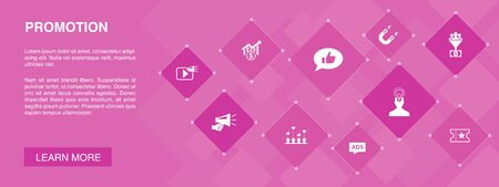 Promotion banner 10 icons concept.advertising, sales, lead conversion, attract icons Ilustração