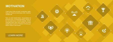 motivation banner 10 icons concept.goal, performance, achievement, success simple icons
