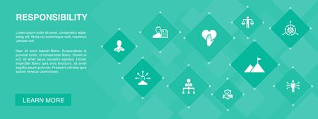 responsibility banner 10 icons concept.delegation, honesty, reliability, trust icons Illustration